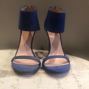 Stuart weitzman blue suede textured sandals 8.5